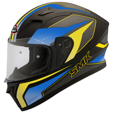 SMK Stellar Dynamo Matt Black Blue Yellow (MA254), Full Face Helmets, SMK, Moto Central