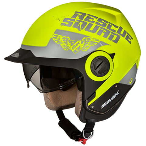 SMK Derby Rescue Matt Fluorescent Yellow (MA460), Open Face Helmets, SMK, Moto Central