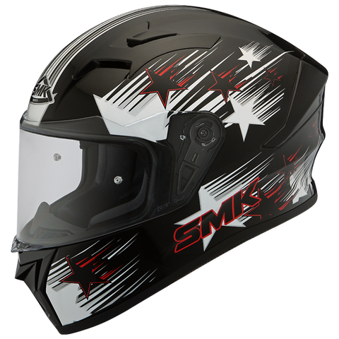 SMK Stellar Rain Star Matt Black White Red (MA213), Full Face Helmets, SMK, Moto Central