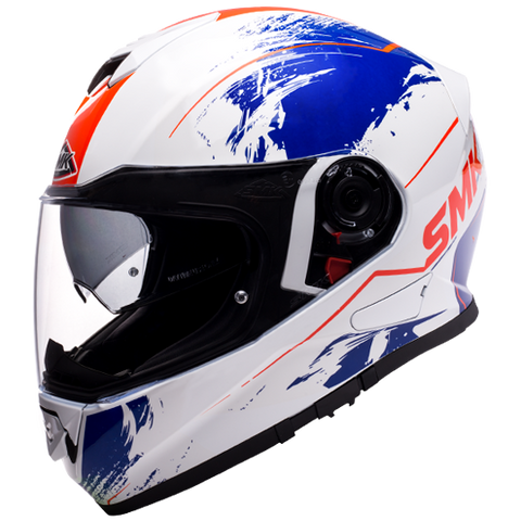 SMK Twister Wraith Gloss White Blue Red (GL153), Full Face Helmets, SMK, Moto Central