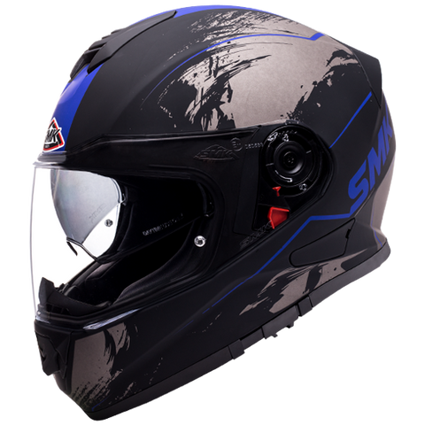 SMK Twister Wraith Matt Black Grey Blue (MA265), Full Face Helmets, SMK, Moto Central