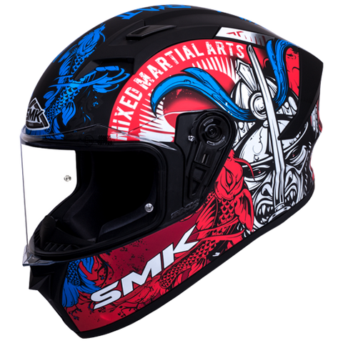 SMK Stellar Samurai Matt Black Grey Red Blue (MA253) Helmet, Full Face Helmets, SMK, Moto Central