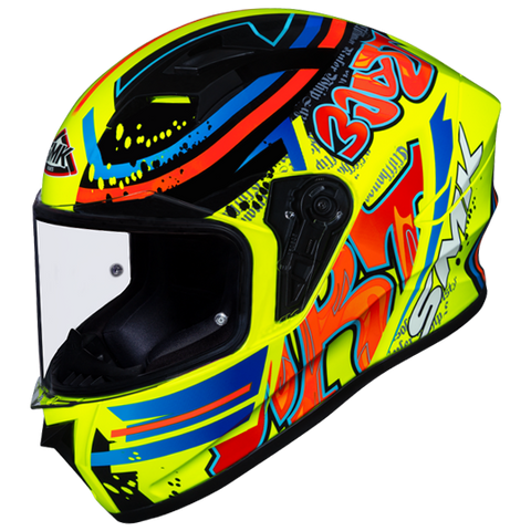 SMK Stellar Graffiti Fluorescent Yellow Red Orange Gloss (GL437) Helmet, Full Face Helmets, SMK, Moto Central
