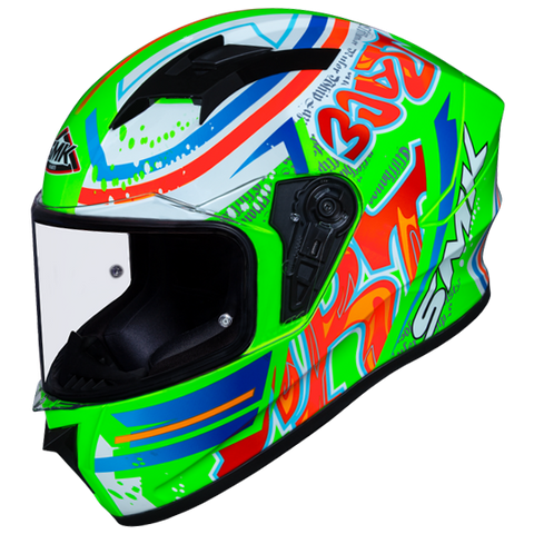 SMK Stellar Graffiti Fluorescent Green Red Orange Gloss (GL837) Helmet, Full Face Helmets, SMK, Moto Central