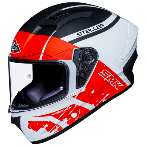 SMK Stellar Squad White Black Red Matt (MA132) Helmet, Full Face Helmets, SMK, Moto Central