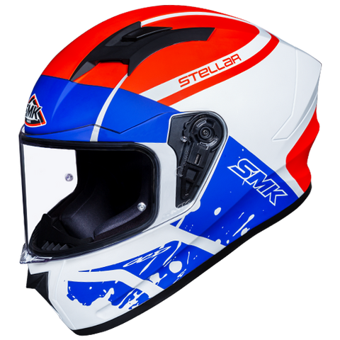 SMK Stellar Squad White Blue Red Matt (MA153) Helmet, Full Face Helmets, SMK, Moto Central