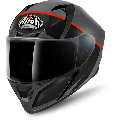 Airoh Valor Eclipse Matt Black Orange Helmet, Full Face Helmets, Airoh, Moto Central