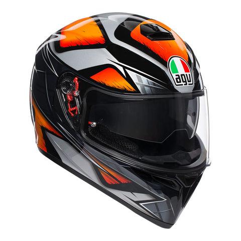 AGV K3-SV Liquefy Black Orange Helmet, Full Face Helmets, AGV, Moto Central