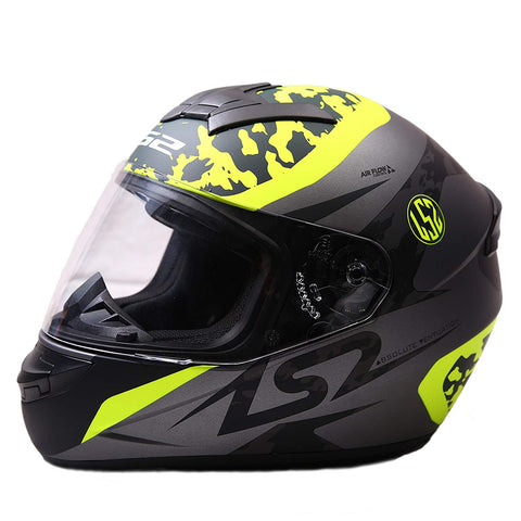 LS2 FF 352 Airflow Matt Titanium Fluorescent Yellow Helmet, Full Face Helmets, LS2 Helmets, Moto Central