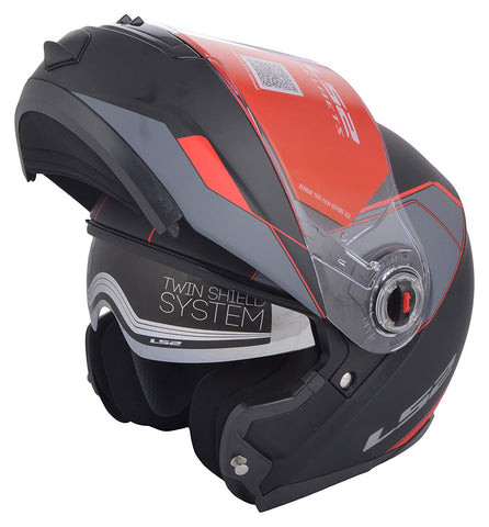 LS2 FF 386 Midnight Matt Black Red Flip Up Helmet, Flip Up Helmets, LS2 Helmets, Moto Central