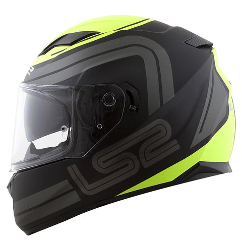 LS2 FF 320 Stream Orbital Matt Black Grey Hi-Viz Yellow Helmet, Full Face Helmets, LS2 Helmets, Moto Central