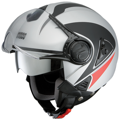 Studds Downtown D3 Decor Matt Silver Grey N2, Open Face Helmets, Studds, Moto Central