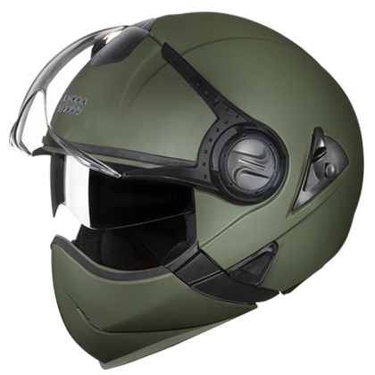 Studds Downtown FF Matt Military Green, Flip Off Helmets, Studds, Moto Central