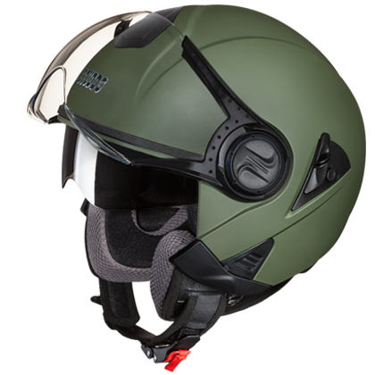 Studds Downtown Open Matt Military Green, Open Face Helmets, Studds, Moto Central