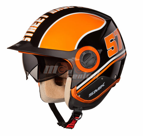 SMK Derby Grid Black Orange 271, Open Face Helmets, SMK, Moto Central
