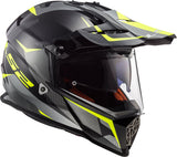 LS2 MX 436 Pioneer Ring Matt Black Titanium Hi Viz Yellow Helmet, Full Face Helmets, LS2 Helmets, Moto Central