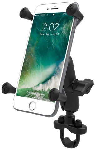 RAM Mounts Handlebar U-Bolt Mount with Universal RAM® X-Grip® Large Phone/Phablet Cradle, Mobile Mounts, RAM Mount, Moto Central