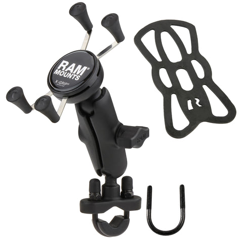 RAM Mounts Handlebar U-Bolt Mount with Universal RAM X-Grip® Cell/iPhone Cradle, Mobile Mounts, RAM Mount, Moto Central