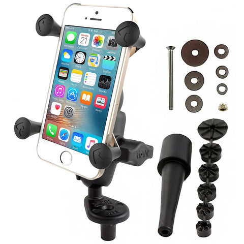 RAM Mounts Fork Stem Mount with Short Double Socket Arm & Universal RAM® X-Grip® Cell/iPhone Cradle, Mobile Mounts, RAM Mount, Moto Central