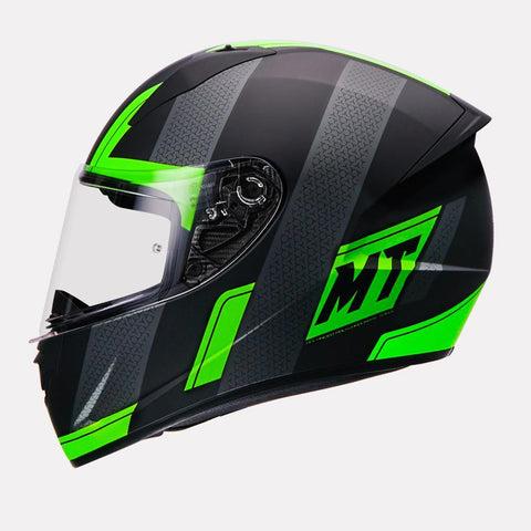 MT Stinger Affair Matt Black Fluro Green Helmet