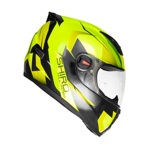 SHIRO SH-821 Paul Ricard Gloss Fluorescent Yellow Helmet, Full Face Helmets, SHIRO, Moto Central