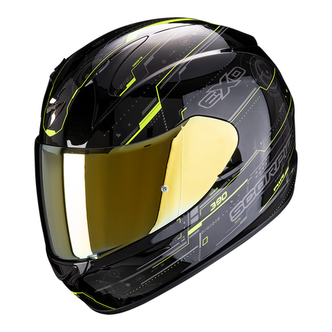 SCORPION EXO-390 Beat Gloss Black Neon Yellow Helmet, Full Face Helmets, Scorpion Exo, Moto Central