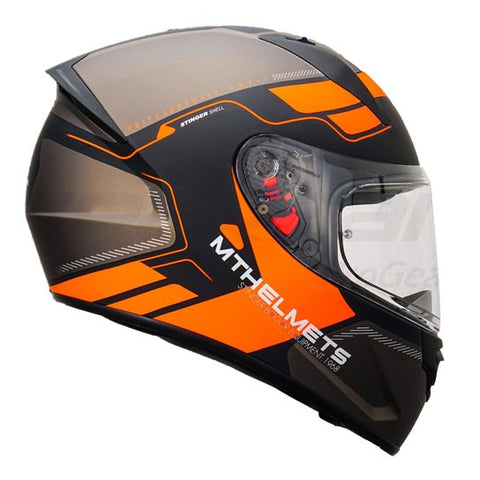 MT Stinger Bogor Matt Black Fluro Orange Helmet, Full Face Helmets, MT Helmets, Moto Central