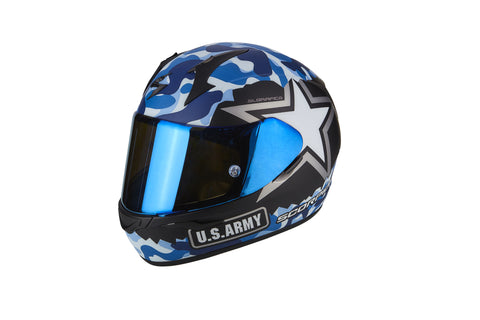 SCORPION EXO-390 ARMY Matt Black Blue, Full Face Helmets, Scorpion Exo, Moto Central