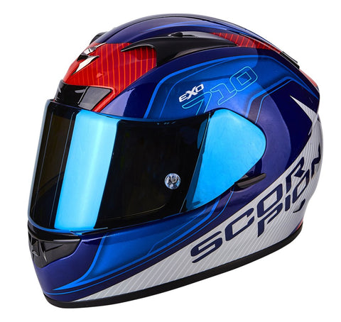 SCORPION EXO-710 Air Mugello Gloss Blue White, Full Face Helmets, Scorpion Exo, Moto Central