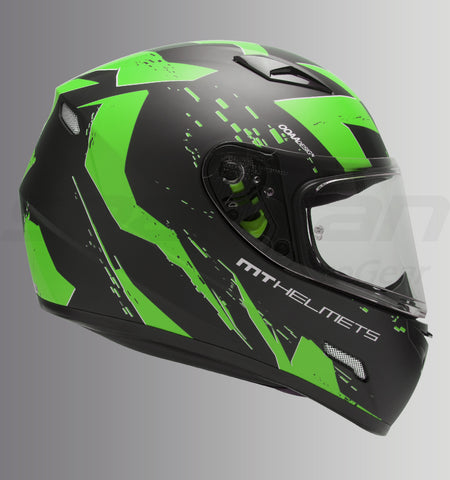 MT Mugello Vapor (Matt Black-Green), Full Face Helmets, MT Helmets, Moto Central