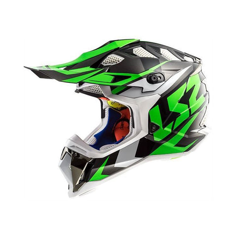 LS2 MX 470 Subverter Nimble Matt White Black Green Helmet, Full Face Helmets, LS2 Helmets, Moto Central