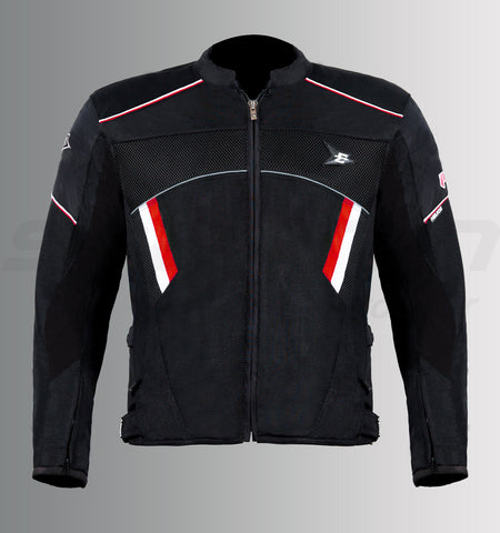 Aspida Helios Prime Mesh Jacket (Black-Red), Riding Jackets, Aspida, Moto Central
