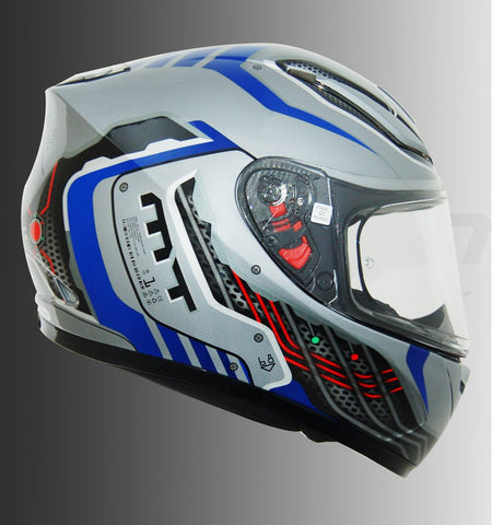 MT Revenge Cyborg (Dark Silver Blue), Full Face Helmets, MT Helmets, Moto Central