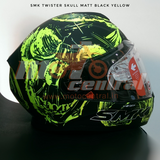 SMK Twister Skull Matt Black-Fluorescent Yellow (MA240), Full Face Helmets, SMK, Moto Central