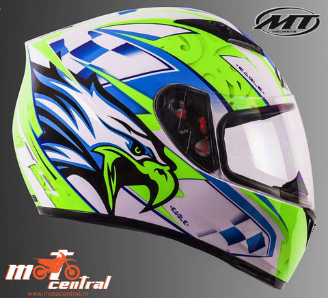 MT Axxis Eagle (White & Fluorescent Yellow ), Full Face Helmets, MT Helmets, Moto Central