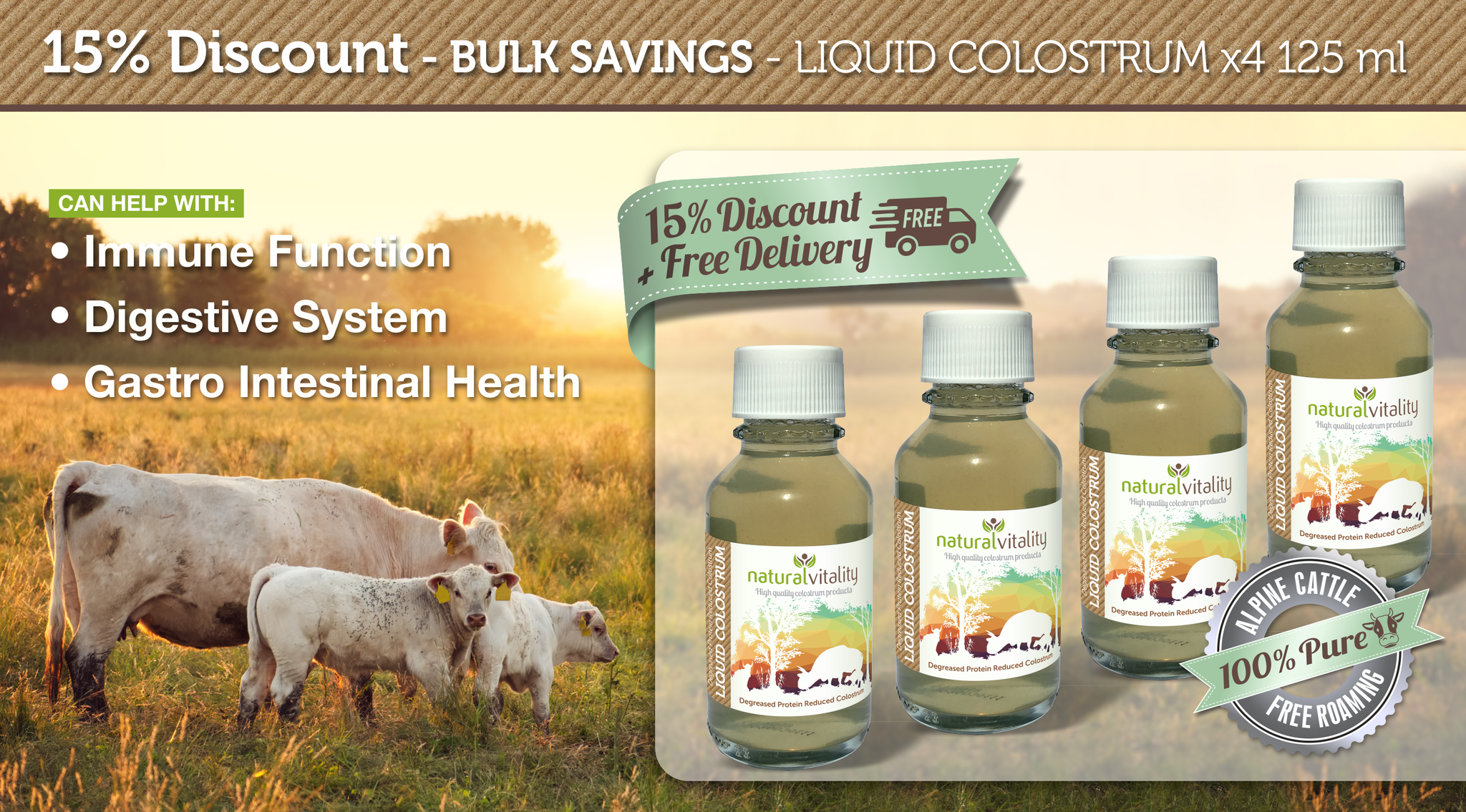 Bulk Discount on Liquid Colostrum by Natural Vitality