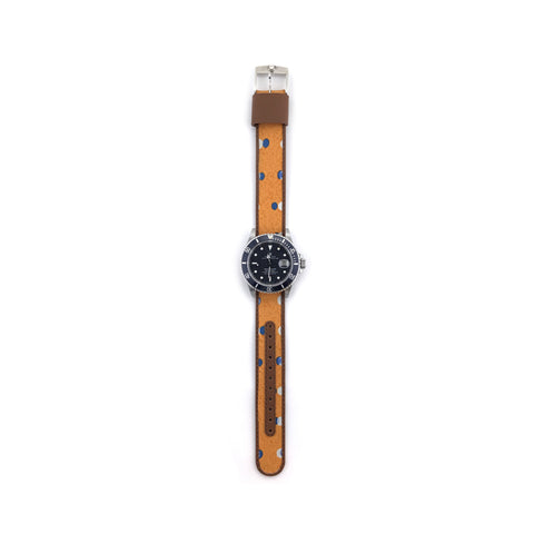 MILITARY INSPIRED WATCH STRAP-ORANGE, BLUE DOTS