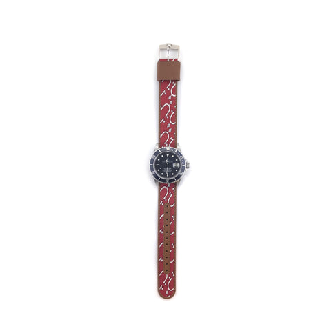 MILITARY INSPIRED WATCH STRAP-RED, WHITE STIRRUPS
