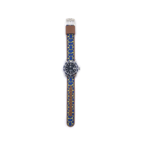 MILITARY INSPIRED WATCH STRAP-BLUE, YELLOW CHAINMAIL