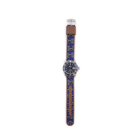 MILITARY INSPIRED WATCH STRAP-PURPLE, GOLD HORSEBITS AND NAVY H's
