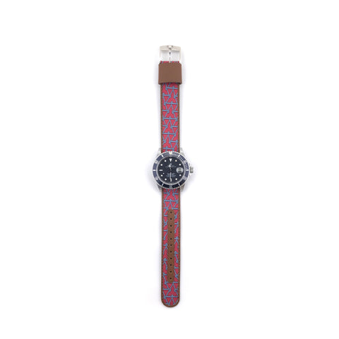 MILITARY INSPIRED WATCH STRAP-RED, LIGHT GREY ROPE STARS