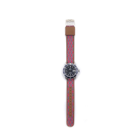 MILITARY INSPIRED WATCH STRAP-RED, GREY FLOWER SHAPED DIAMONDS