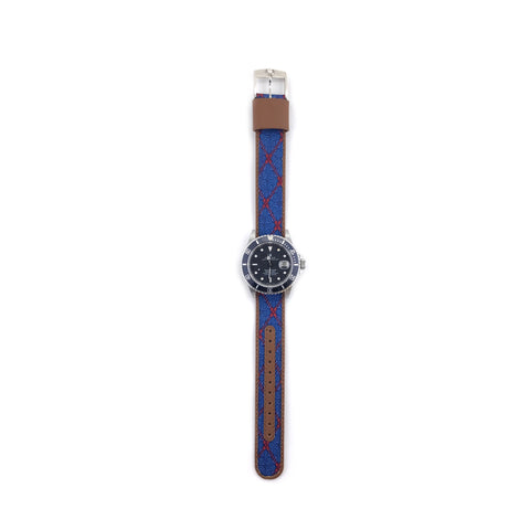 MILITARY INSPIRED WATCH STRAP-BLUE, RED RIBBON AND LIGHT BLUE SPURS