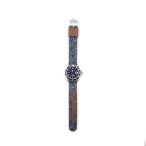 MILITARY INSPIRED WATCH STRAP-LIGHT BLUE,GREEN PIRATE SHIP