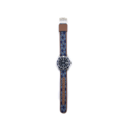 MILITARY INSPIRED WATCH STRAP-NAVY BLUE, BLUE HORSEBIT SPOKE