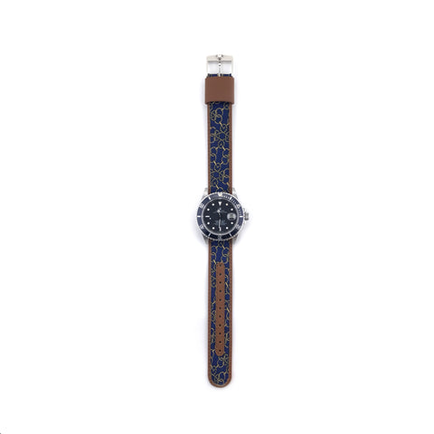 MILITARY INSPIRED WATCH STRAP-NAVY, TAN HORSEBITS
