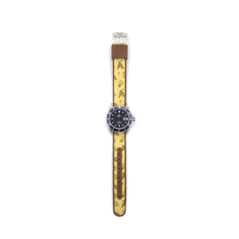 MILITARY INSPIRED WATCH STRAP-YELLOW, BUTTERFLY AND LADYBUG
