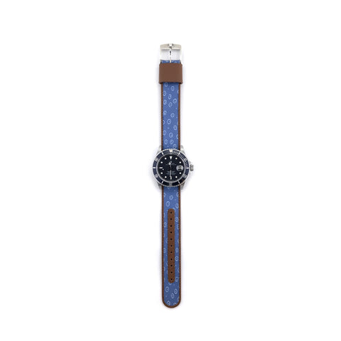 MILITARY INSPIRED WATCH STRAP-LIGHT BLUE, BLUE CIRCLES INSIDE CIRCLES
