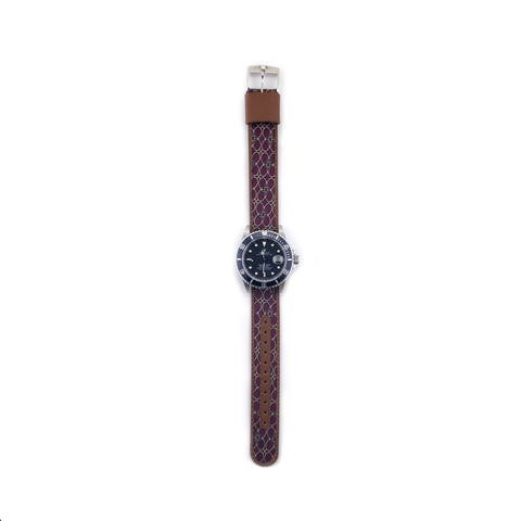 MILITARY INSPIRED WATCH STRAP-MAROON, TAN HORSEBIT PATTERN