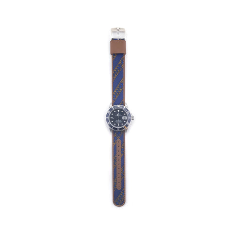 MILITARY INSPIRED WATCH STRAP-NAVY, BRONZE DIAGONAL CHAINMAIL
